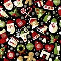 Christmas seamless pattern of icons on black background in flat style. Royalty Free Stock Photo