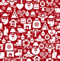 Christmas seamless pattern of icons of flat style. Background for holidays. Royalty Free Stock Photo