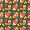 Christmas seamless pattern with mittens and socks vector illustration Royalty Free Stock Image