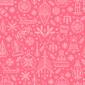 Christmas seamless pattern with outlined holiday and winter signs.