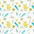 Christmas seamless pattern with pig, gifts, fir branches in hand drawn style.