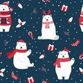 Christmas seamless pattern with polar bear background, Winter pattern with holly berry, wrapping paper, pattern fills Royalty Free Stock Photo