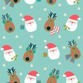 Christmas pattern with reindeer and Santa on blue background.