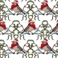 Christmas seamless pattern. Robin bird in a red christmas hat and skarf. Mistletoe twigs decorative frame.