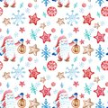 Christmas seamless pattern in scandivanian style with gnome, snowflakes and gingerbread cookies ornament