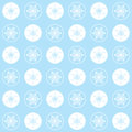 Christmas seamless pattern snowflakes on a blue background pastel colors with white circles and elegant white Royalty Free Stock Images