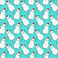 Christmas seamless pattern with snowman on turquoise backdrop. New Year design for wallpaper, textile and wrapping paper Royalty Free Stock Photo