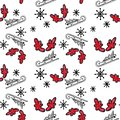 Christmas seamless pattern with tree on sled, red horns and snowflakes on white background.