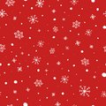 Christmas seamless pattern. White snowflakes on red background. Falling snow vector pattern. Winter Holidays texture Royalty Free Stock Photo
