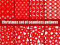 Christmas seamless patterns. Christmas trees, snowflakes and toys. Vector