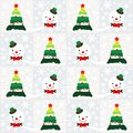 Christmas seamless patterns with tree, snowman and snowflakes Royalty Free Stock Photo