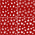 Christmas seamless patterns vector illustration set of red with and new year symbols Royalty Free Stock Photo