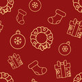 Christmas seamless red pattern with simple yellow icons. Ornament ball, gift box with bow, sock and door wreath.