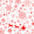 Christmas seamless red pattern with snowflakes and xmas symbols Stock Photos