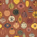 Seamless vector Christmas pattern with vintage holiday ornaments. Repeated retro Christmas texture. Vector print for fabric, gift