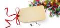 Christmas Season Gift Tag on holidays background Royalty Free Stock Photo