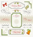 Christmas set of calligraphic design elements Stock Photos