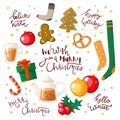 Christmas set cute holiday decoration elements and handwritten calligraphy. Vector illustration. Royalty Free Stock Photo