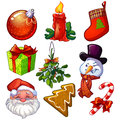 Christmas set of decorative icons Stock Image