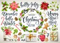 Christmas set design of poinsettia, fir branches, cones, holly and other plants. Cover, invitation, banner, greeting c Royalty Free Stock Photo