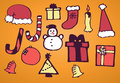 Christmas set drawn se of signs Royalty Free Stock Photo