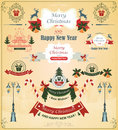 Christmas set of elements, ribbons, for design vector