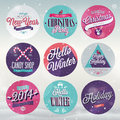 Christmas set emblems and other decorative elements Stock Photos