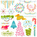 Christmas set frames wreath light bulbs for design and scrapbook in Stock Image