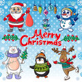 Christmas set with funny personages