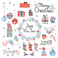 Christmas set graphic elements with wreath, cake, gingerbread house, mittens, toys, gifts and socks.
