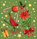 Christmas set on a green background Royalty Free Stock Photo