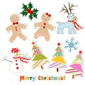 Christmas set for greeting card, vector Royalty Free Stock Image