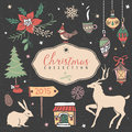 Christmas set of hand drawn festive illustrations design elements Stock Photos