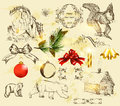 Christmas set with hand drawn objects Royalty Free Stock Photos