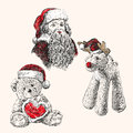 Christmas set hand drawn vector llustration sketch Royalty Free Stock Photos