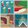 Christmas set with holiday symbols Stock Image