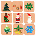 Christmas set icons decorations Stock Photo