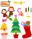 Christmas set illustration of cute boy and girl Royalty Free Stock Photography