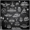 Christmas set labels and emblems chalkboard Royalty Free Stock Image