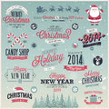 Christmas set labels emblems and other decorati decorative elements vector illustration Stock Images
