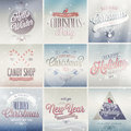 Christmas set labels emblems and other decorative elements Royalty Free Stock Image