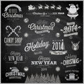 Christmas set labels emblems and other decorative elements Stock Photography