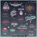 Christmas set labels emblems and other decorative elements Stock Images
