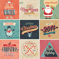 Christmas set labels emblems and other decorative elements Royalty Free Stock Photography