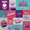 Christmas set labels emblems and other decorative elements Royalty Free Stock Photos