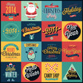 Christmas set labels emblems and other decorative elements Stock Photo