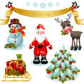 Christmas set. Santa claus with gifts and tree Stock Images