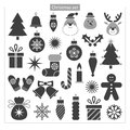 Christmas set with a tree a deer candy santa a snowflake and other symbols Stock Images