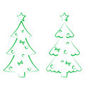 Christmas set trees with decoration stylized hand drawn illustration Royalty Free Stock Images