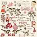 Christmas set of vector decorative elements in vintage style Royalty Free Stock Photo